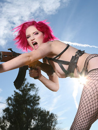 Scar Sexy Warrior Girl In Fishnet