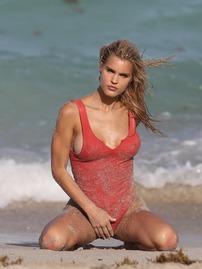 Joy Corrigan Hot Nipple Slip In Thong Red Swimsuit