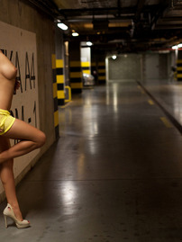 Busty Justyna Posing Nude In Underground Parking