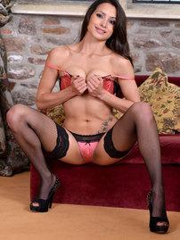 Chelsea French In Black Fishnet Stockings