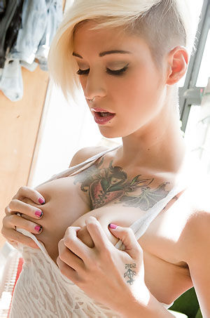 Tattooed Busty Punk Chick Strips