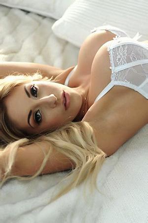 Ashley Emma In White Lingerie