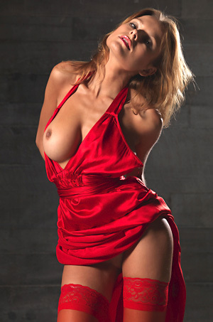 Luba Shumeyko In Red Satin