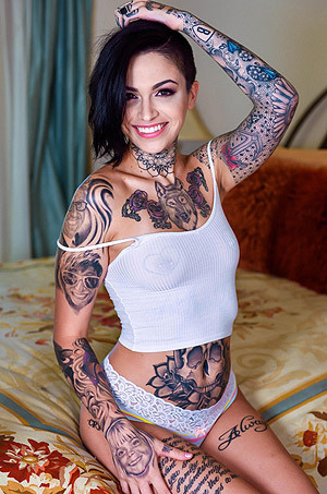 Hot Tattooed Girl Leigh  Strips In Her Bedroom