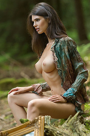Busty Jasmine Posing Nude In The Forest