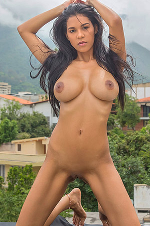 Busty Beauty Kendra Roll Strips Naked On The Rooftop