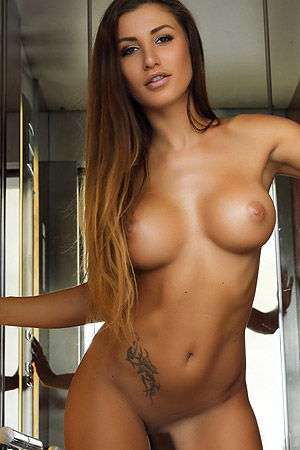 Busty Brunette Babe Allison Takes Off Her Lingerie To Show Us Her Fabulous Naked Body