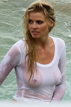 Lara Stone Showing Her Big Boobs In Wet C Thru Top