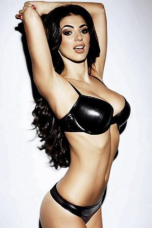 Busty Georgia Salpa Wearing Skimpy Black Lingerie