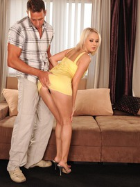 Expensive-looking Blonde Lets His Come On Her Tits